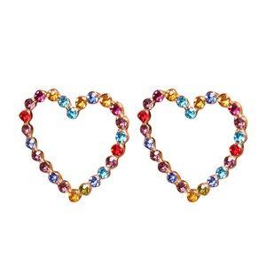 thriftdimensi0n Jewelry - *MAVI* Multicolor Gem Heart Shape Fashion Earrings